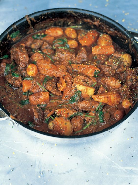I make this about once a week.  It's super-easy to put together, and you can do it in the crock pot or even on the stove top on low heat for three hours.  Delicious and smells amazing.    jools's favourite beef stew   Jamie Oliver   Food