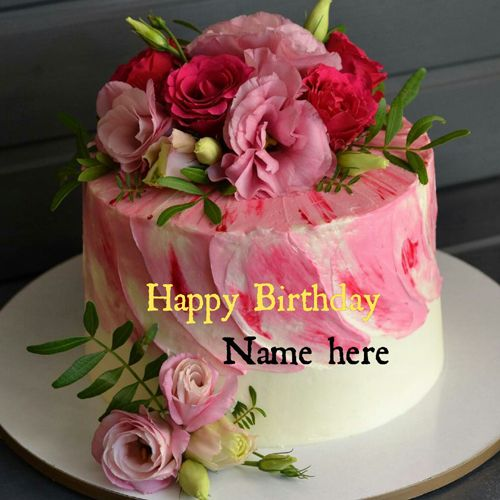 Best Of Rose Flower Birthday Cake With Name And Description In 2020 Happy Birthday Cakes Birthday Cake Writing Birthday Cake With Flowers