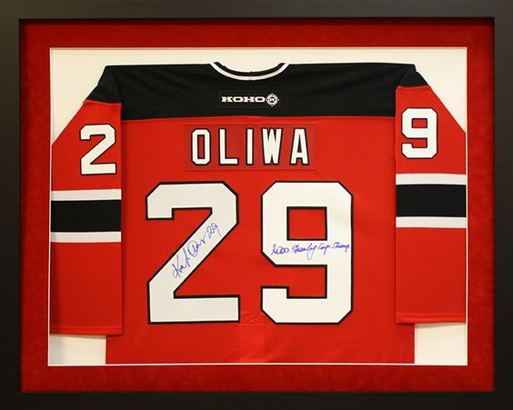 signed nhl oliwa hockey jersey custom matted and framed custom frame design by art and