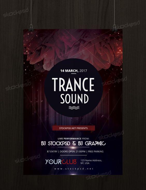 Trance Sound  Free Psd Flyer Template  Freepsd  Freebie Psd