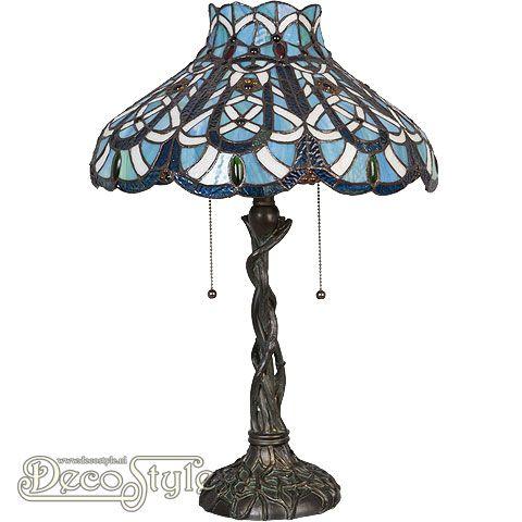Tiffany Tafellamp Netar Blue  Een bijzonder mooie nostalgische tafellamp. Helemaal met de hand gemaakt van echt Tiffanyglas. Dit originele glas zorgt voor de warme uitstraling. Met bronskleurige voet. Met 2x grote fitting (E27) Max 60 Watt. Met 2 schakelaars aan de kap. Afmetingen: Hoogte: 60 cm Breedte: 40 cm Diepte: 40 cm