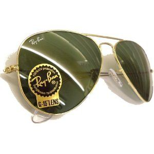 Ray Ban Sunglasses Aviator Large Metal RB3025 L0205 Arista/Crystal Green, 58mm (Eyewear
