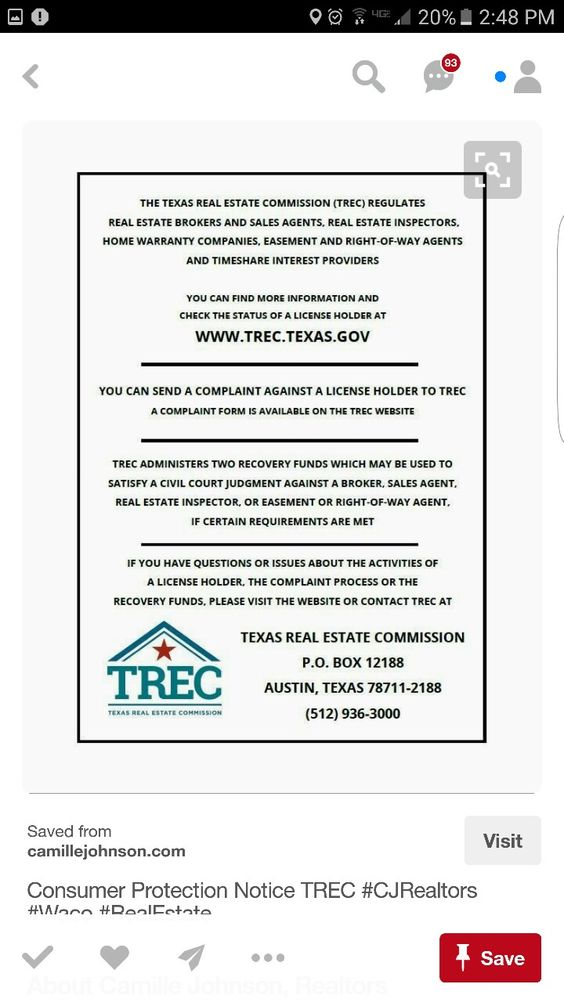 Texas Real Estate Commission Consumer Protection Notice TREC - consumer complaint form