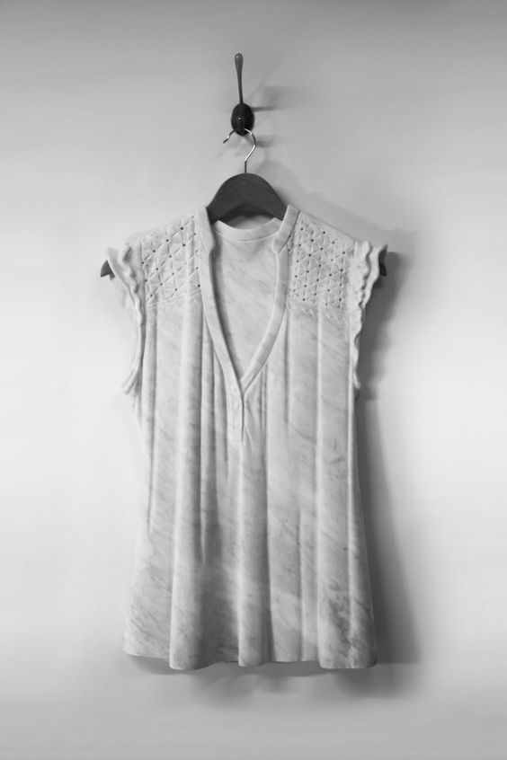Airy Dresses Carved From Marble by Alasdair Thomson sculpture marble fashion clothing