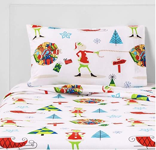 Seuss Dr Grinch 4pc Cotton Flannel Sheet Set Full In 2020 Christmas Flannel Sheets Holiday Flannel Sheet Sets Full