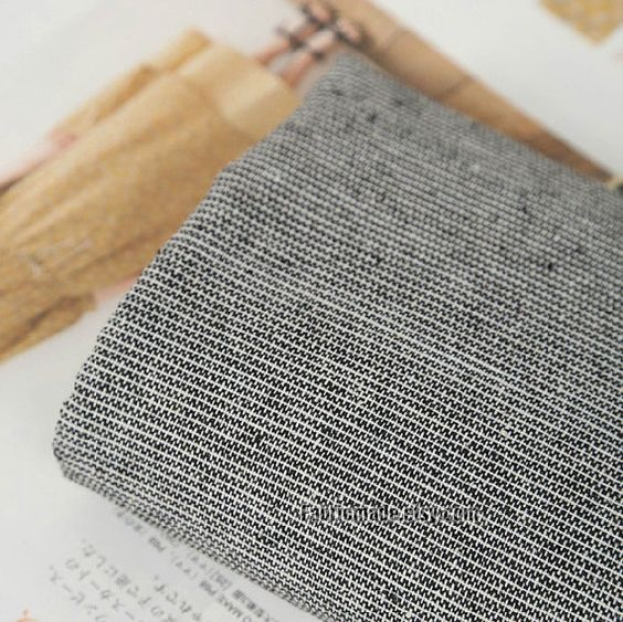 Stripe Fabric Stripe Cotton Linen Fabric Natural by fabricmade