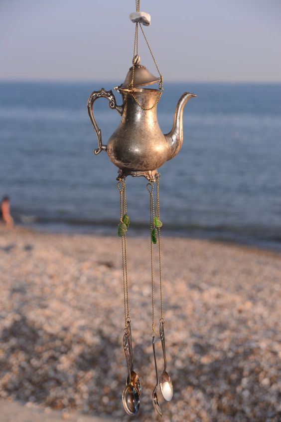 Vintage silver plate teapot wind chime holey stone sea glass hanging decoration