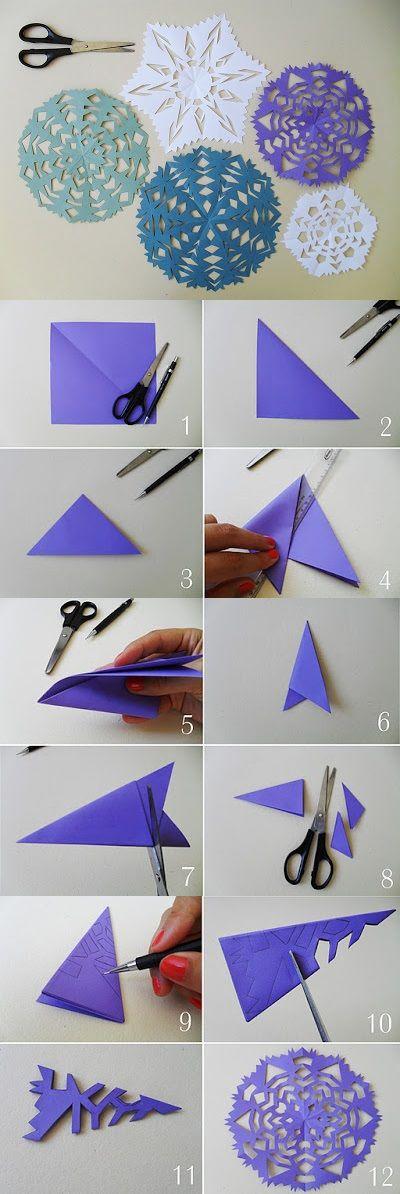 Como fazer flocos de neve http://vaniartecomamor.blogspot.com.br/2012/10/flocos-de-neve-de-papel-pap_30.html: