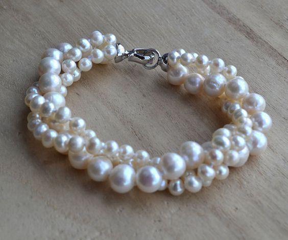 pearl bracelet3 rows 8 inches 59mm ivory pearl by weddingpearl