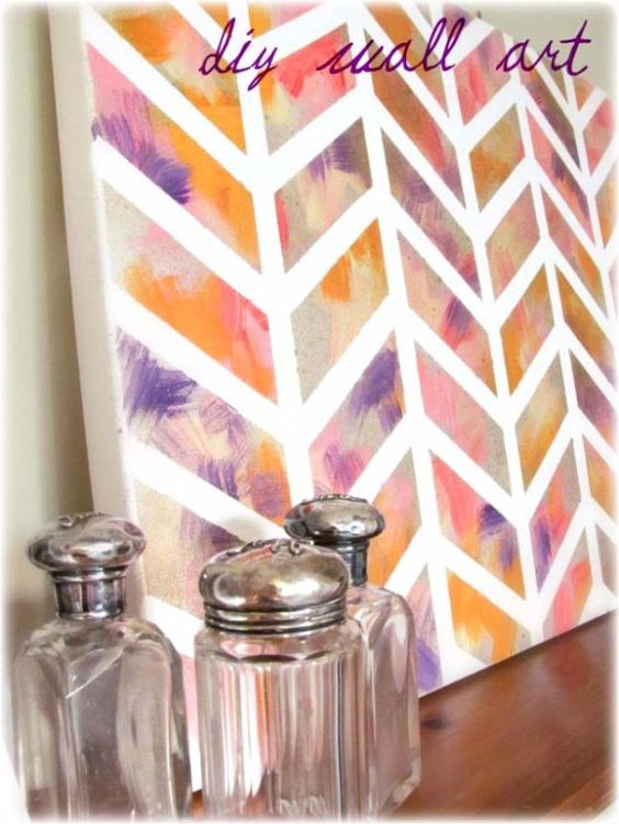 Cool Arts and Crafts Ideas for Teens, Kids and Even Adults | Cheap, Fun and Easy DIY Projects, Awesome Craft Tutorials for Teenagers | School, Home, Room Decor and Awesome Gift Ideas | Pattern Tape Wall Art | http://diyprojectsforteens.com/arts-and-crafts-ideas-for-teens