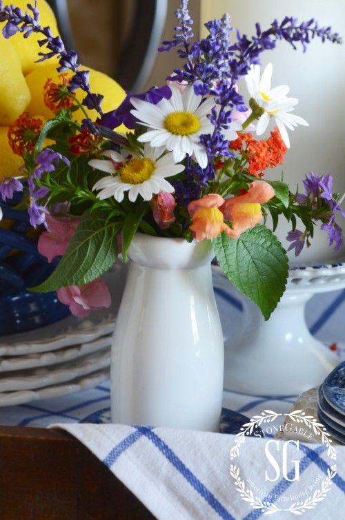 late summer-farmhouse-table-flowers-milk botttle-stonegableblog.com