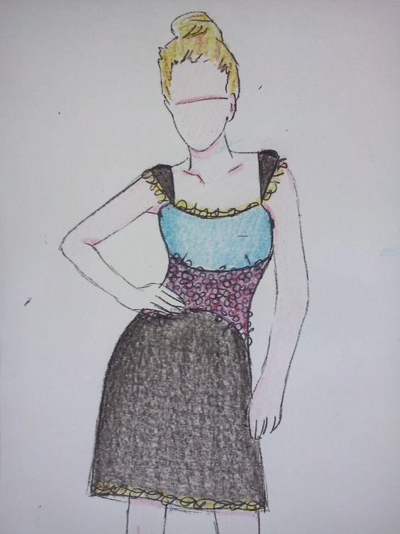 Vestido combinado azul turquesa, negro, flores rosas y puntilla taupe