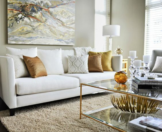 Twenty One Two - Contemporary living room with white modern sofa, copper pillows, beige ...: