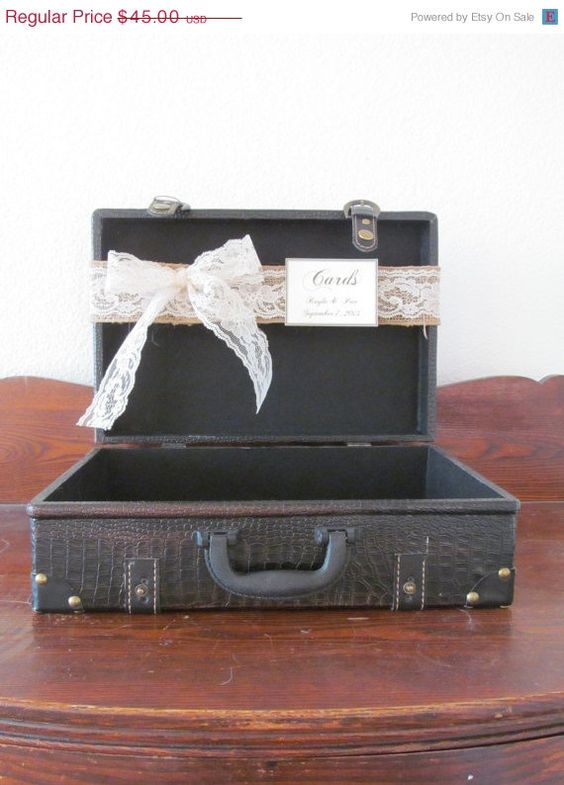 On Sale Vintage Style Wedding Card Holder Suitcase Medium / Rustic ...
