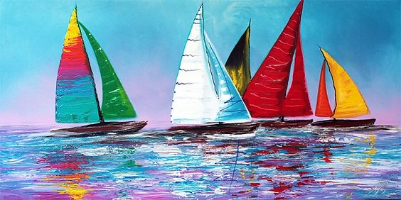 "watercolor sailboats on the ocean | ... Sea ( Sailboat Painting )"" - Acrylics on Canvas, in Sailboat Paintings"