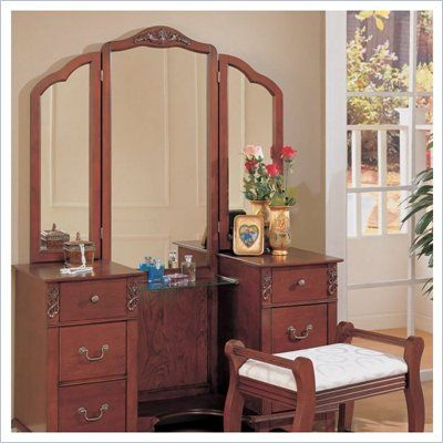 Coaster Traditional Wood Makeup Vanity Table Set with Mirror - 300074
