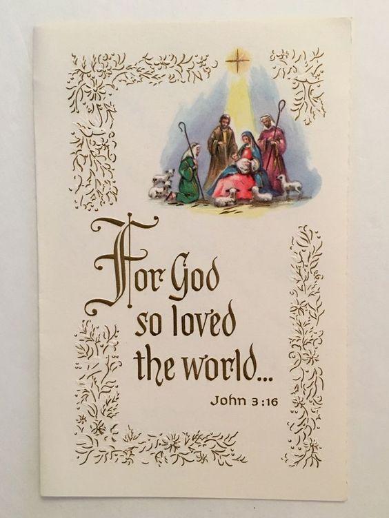 Vintage Nativity Jesus Bible Verse Christmas Card Mid Century Greeting USA