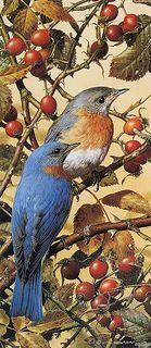 "Carl Brenders ""Bluebirds Forever"" 1980,.. [Belgium naturalist and painter, born 1937]"