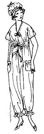 Past Patterns: #846: Ladies' and Misses' Pajamas and Cap: Circa 1918