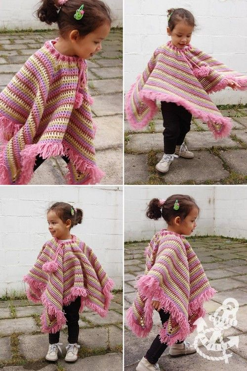 Free Crochet Pattern For Girls Poncho Wrap Jacket And Doll Poncho