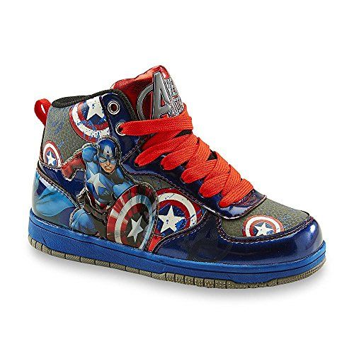 Marvel Captain America Boys' Youth Hi Top Sneakers. Captain America graphic. Cushioned fit. High-top design. Pull tab. Padded tongue.