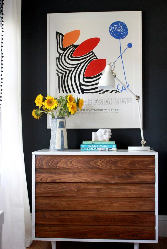 Danish modern dresser & Calder art print