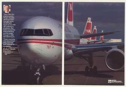 TWA 767 Pratt & Whitney JT9D-7R4 Engine 2-Page (1983)