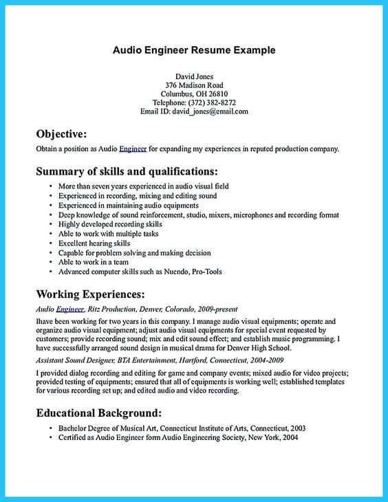 Cool Crafting A Representative Audio Engineer Resume, Check More   Audio  Engineering Resume  Audio Engineering Resume
