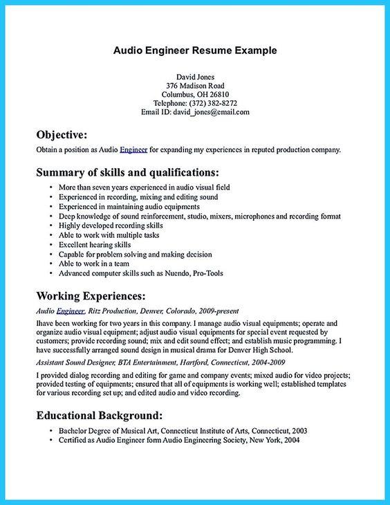 Audio Engineering Resume - Unitedijawstates