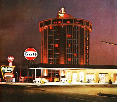 "larger metropolitan Holiday Inn with Gulf station. The ""round"" hotel (location unknown, but several were built)"
