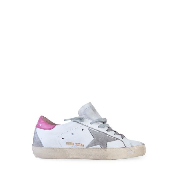 Golden Goose white Superstar sneakers with grey star rose detailing