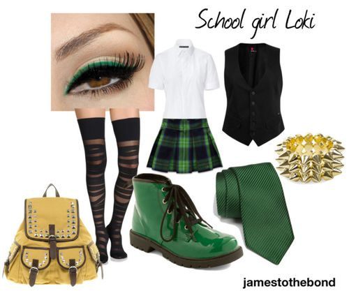 School Girl Loki style  #superherochic #comicbookfashion #superherofashion #geekchic