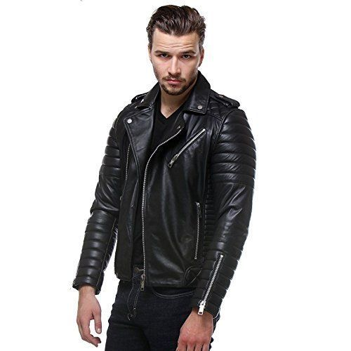 Mens Model New Look Lambskin Leather Biker Black Motorcycle Leather Jacket A03 Lecraze Motorcycle Lambskin Leather Leather Motorcycle Jacket Leather Outfit