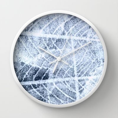 frost Wall Clock by clemm - $30.00 #frost,#leaf,#abstract,#winter,#grey,#white