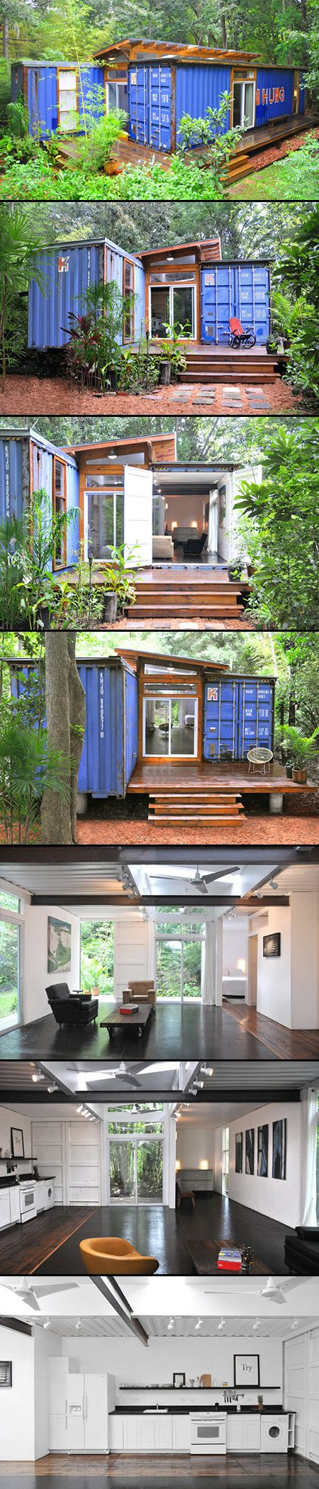 Artist and designer Julio Garcia recently built his own recycled shipping container home in Savannah, Georgia. The printmaker took two 40 ft containers and set them apart with a shed roof and clerestory windows that fill the modest space with loads of daylight. Wood and a lot of bright interior furnishings make the one-bedroom home a perfect retreat for an artist.  Read more: Artist Julio Garcia Builds a Light-Filled Shipping Container Home in Savannah | Inhabitat - Sustainable Design…