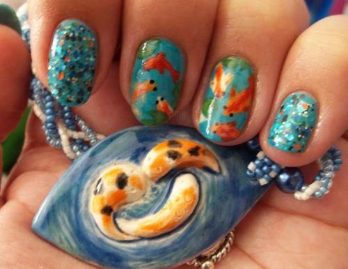 Base: China Glaze Flyin' High  Glitter: Rainbow Honey Koi Pond (topped with NYS Hot baby Blue)  Fish: WnW White Creme, WnW Black Creme, Zoya Arizona, FingerPaints Cordur-Orange    Venique Havana Glam (for sparkle), WnW Break the Ice (for sparkle)  Lilypads: Sinful Last Chance, NYC High Line Green  Water rings: Essence LEt's Get Lost (dabbed with acetone)