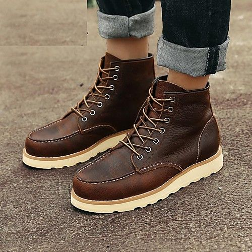 Hombre Zapatos Cuero de Napa Seda Invierno Otoño Botas de