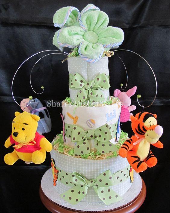 Winnie The Pooh Friends Green 3 Tier Diaper Cake Baby Shower