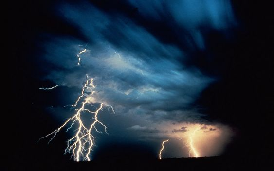 lightning with blue cloud