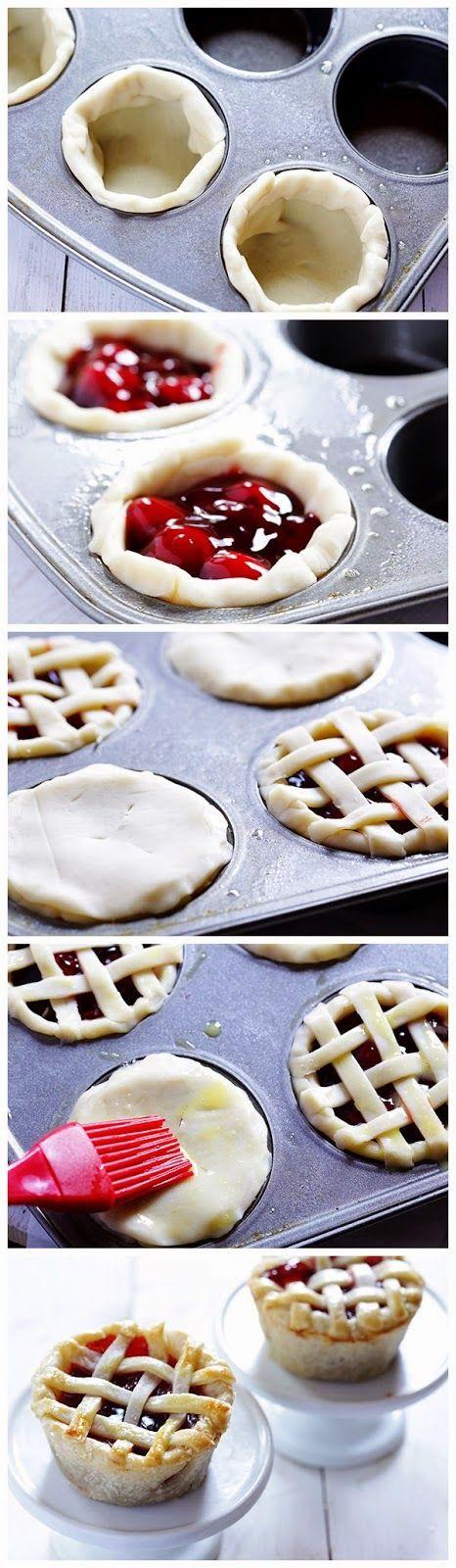 Damit könnte ich die viele Marmelade ein bisschen aufbrauchen. +++ Mini Pies in a Cupcake Tin