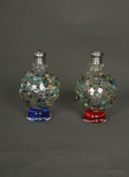 Pair of Hand Blown Glass Multicolor Sphere Picnic Salt and Pepper Shakers. www.myrlg.com #holidaygifts