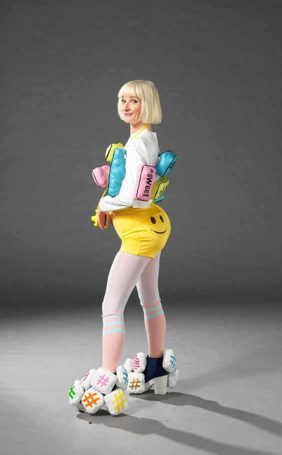 Bubble (Jane Horrocks) poses in an inflatable wacky outfit, Blown away: the inflatable outfit is soon to take offices by storm.