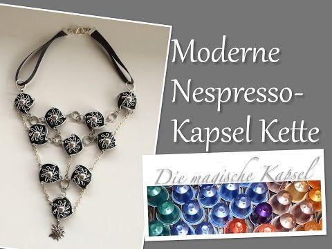 Nespresso - Kapsel Schmuck Anleitung - Halskette mit Dekorband - die magische (Kaffee-) Kapsel - YouTube
