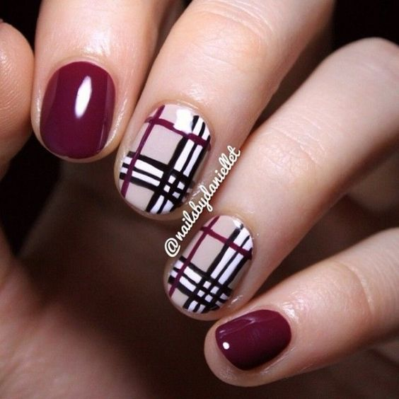 39 awesome plaid nail art designs for your preppy days. Black Bedroom Furniture Sets. Home Design Ideas