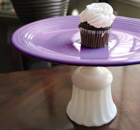 Lilac Cake Stand / Vintage Cake Stand / Vintage Cupcake Stand for Cupcakes w/ Cupcake Toppers & Wrappers / Pale Purple Plum Lavander