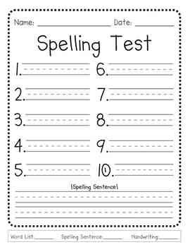 "This generic spelling test template is perfect for elementary teachers who test their students over 10 words per week. There's also a spot for a sight word/spelling sentence.Grade box is on the bottom with blanks for ""spelling words"", ""sentence"" and ""handwriting"" grades."