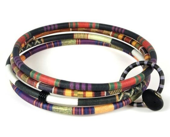 Four Bangle Bracelet with African Textile Patterns by designforest, $48.00