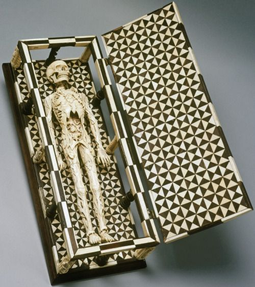 Memento Mori, made of ivory and ebony. From the collection of the Schnütgen Museum, Cologne. Found here.