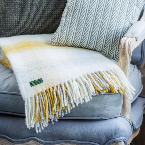 Grey And Yellow Check Throw White Throw Blanket Sofa Blanket Cosy Sofa