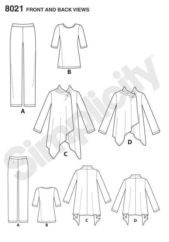 Simplicity 8021 Misses' Easy-to-Sew Knit Sportswear Pattern